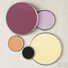 Kishani says: This palette is bold yet no one color is overpowering. However, you do need high-impact white and black accents--a sofa, chair, rug, or cabinetry, for example--for a visual break. Walls: Benjamin Moore Old Claret 2083-30 Painted piece: Benjamin Moore Purple Easter Egg 2073-50 Accent: Benjamin Moore Butterscotch 2157-30 Accent: Benjamin Moore Butter 2023-60