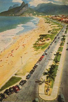 Ipanema and Leblon - 1950s Postcard by raisonettes, via Flickr