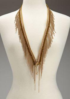 BCBGeneration Zipper Fringe Statement Necklace