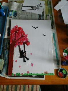 Girl on swing using acrylic paint