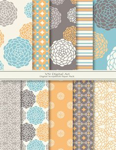 Flower Digital Scrapbook Paper Pac This place has beautiful  papers  just not much elements