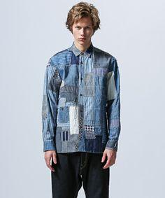 JUNYA WATANABE MAN(ジュンヤワタナベマン)のパッチワークシャツ(シャツ/ブラウス) インディゴブルー