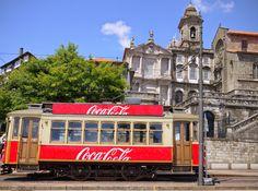 Coca-cola streetcar in Porto, Portugal