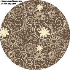 Etiquetas para imprimir gratis de flores en marrón y beige.