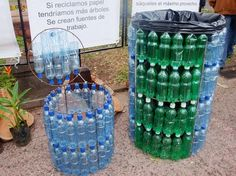 MY Interpretation and I'm not sure what language it is LOL.. Up~cycled plastic bottles made in to waist basket and garbage cans! TOO cool!! Turning Trash in to a trash disposal !!! I have to make a few of these and at least one for my shows!! Hippie Loven' style for sure, Michele!!!