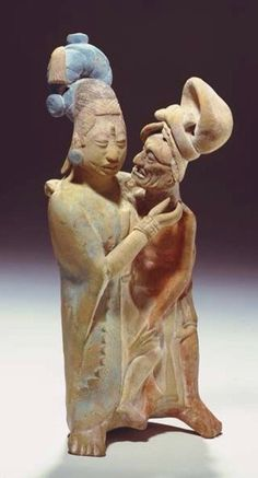 Jaina. clay, traces of paint. height 24.7 cm. Possibly a portrait of Ixchel with God L in an amorous embrace.