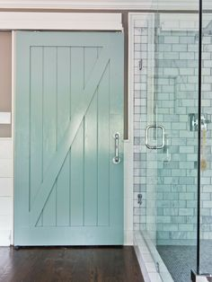 Barn door for bath! [ Specialtydoors.com ] #bath #hardware #slidingdoor