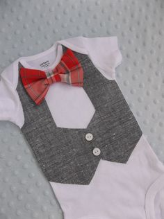Baby Boy Bowtie Vest Onesie  For a Handsome Baby Boy