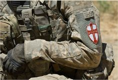 """A red St. George's Cross on a white background, historically associated with the Knights Templar, appears to be used as well. This patch worn by a U.S. SOF in Afghanistan reads: """"Militum Christi"""", or Soldiers of Christ, a reference to the Knights Templar's seal. Mind Reading Tricks, George Cross, Templer, Military News, Pop Culture References, Confederate Flag, Islamic World, Chivalry, Knights Templar"""