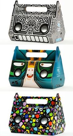 Way cool limited edition prints on portable speakers made from cardboard packaging PD - Hotel Room Ideas Toy Packaging, Cardboard Packaging, Food Packaging Design, Packaging Design Inspiration, Brand Packaging, Branding Design, Cardboard Boxes, Packaging Ideas, Design Package