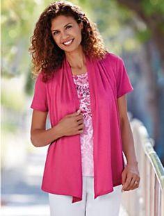 Blair Top Open Front Cardigan Hot Pink Womens Medium M