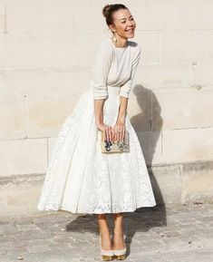 wedding dress winter hochzeit kleidung 50 beste Outfits How To Wear Lace Clothing Lace is a complete All White Outfit, White Outfits, Simple Outfits, White Outfit Party, White Christmas Outfit, Casual Outfits, Classy Outfits, Beautiful Outfits, Casual Dresses