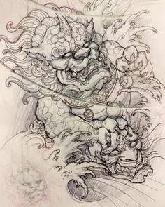 Traditional Japanese Tattoo Sleeve, Japanese Leg Tattoo, Japanese Tattoo Designs, Japanese Sleeve Tattoos, Best Tattoo Designs, Tattoo Sleeve Designs, Guardian Tattoo, Foo Dog Tattoo Design, Japanese Foo Dog
