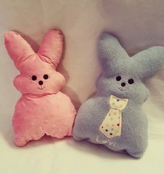 Handmade Washable Fleece Bunnies with FREE Personalization and optional applique! Adorable Easter Basket accessory! by uniquefavors on Etsy