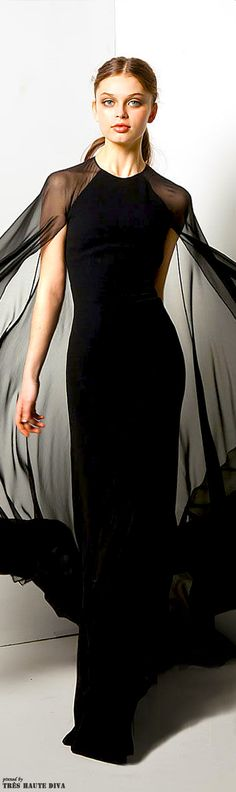 Reem Acra | black dress with sheer cape