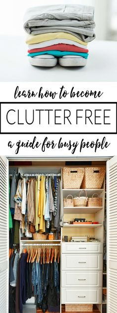 FINALLY, a decluttering and organizing guide for busy people!  Even the busiest people can find time to declutter with these tips that focus on one area at a time!