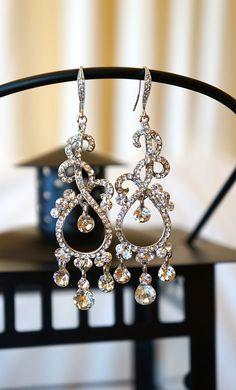 Lavished Princess Swarvoski Crystal Earrings  by VintagePinch, $58.99