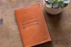 Brown Leather Passport Cover With Arrow Design by ShopAlwaysRooney, $25.00