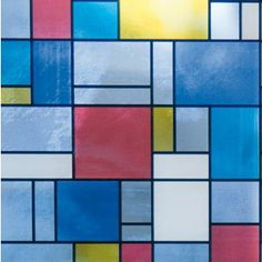 Easy to apply Mondrian adhesive window film works great for windows, glass doors and shower enclosures. The film offers plenty of light through the glass, total privacy and plenty of color to brighten