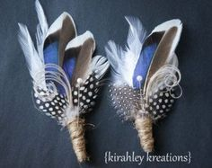 Blue Mallard Duck Feather Groom Groomsmen by KirahleyKreations