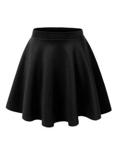 MBJ Womens Basic Versatile Stretchy Flared Skater Skirt – Made in USA-ladies short skirts Flared Mini Skirt, Black Skater Skirts, Black Skater Skirt Outfit, Skater Dresses, Shift Dresses, Black Flare Skirt, Pleated Skirt, Dress Black, Burgundy Skirt