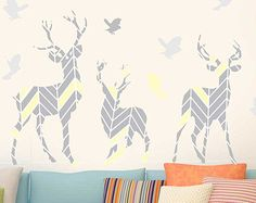 Deer Wall Decal Set- Deer & Bird Wall Decal by Chromantics