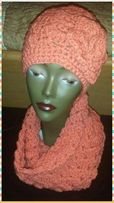 Hat and   infinity scarf..