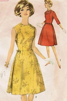 Simplicity 5196: Use this 1960s vintage sewing pattern for junior misses to sew a sweet little cocktail or party dress with fitted bodice and pert side pleats in the skirt. The dress has dart-fitted bodice and collarless jewel neckline. The flared skirt is well dart-fitted at waistline, with full-length inverted pleats with underlays at sides. Leave dress sleeveless or add 3/4 length set-in sleeves. Your choice to add self-fabric fixed bows at waistline sides. Dress has back zipper closing…