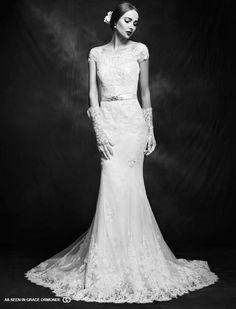 lusan mandongus short sleeve lace wedding gown