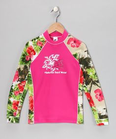Take a look at this Makena Pink Aloha Vintage Rashguard - Girls by Makena Surf Wear on #zulily today!