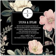 Night Blossoms - Signature White Wedding Invitations - Baumbirdy - Black : Front