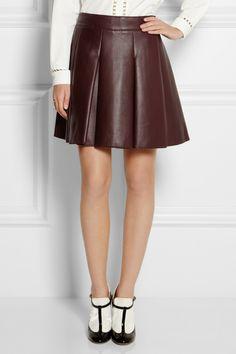 Mulberry|Pleated nappa leather mini skirt|NET-A-PORTER.COM