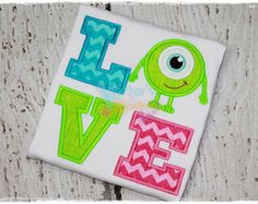 Monsters Inc Mike Wazowski Inspired LOVE Embroidered Applique Shirt Mike And Sulley, Mike Wazowski, Disney Shirts, Disney Outfits, Monster Inc Party, Monster Mash, Mike From Monsters Inc, 4th Birthday, Cute Shirts
