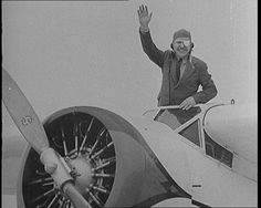 Wiley Post was the first to fly solo around the world. British Pathé has two newsreels covering the historic flight in this collection: http://www.britishpathe.com/workspaces/jhoyle/UANLlAdz