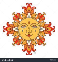 Vintage ornamental illustration. Vector hand drawn ethnic solar symbol. Floral folk pattern. Medieval sun with face for print. Astrological illustration. Venetian style