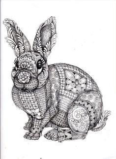 Bunny Rabbit Abstract Doodle Zentangle Paisley Coloring pages colouring adult… Doodles Zentangles, Zentangle Drawings, Zentangle Patterns, Zentangle Animal, Art Drawings, Mandala Art, Arte Sharpie, Desenho Pop Art, Tangle Art