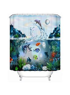 High Quality Vivid Submarine World Design 3D Shower Curtain