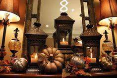 Savvy Seasons by Liz: Dining Room Fall Mantle Vignette