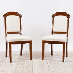 Pair Of Art Deco Side Chairs In Mahogany, C. 1915