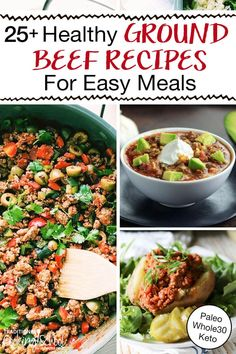 Between busy weeknights and hungry kiddos, dinner needs to be EASY! Here you go! 25  healthy meals with ground beef so you can spend less time stressing in the kitchen, and more time with your family. These ground beef recipes (burrito bowls, casseroles, burgers, Instant Pot soups, and more!) are 100% real food, and most comply with many special diets: Paleo, Whole30, Keto, GAPS, and Low Carb. #recipes #healthy #dinners #groundbeef #maindishes Beef Recipes For Dinner, Real Food Recipes, Healthy Recipes, Lunch Recipes, Keto Recipes, Vegetarian Recipes, Easy Beef And Broccoli, Broccoli Recipes, Healthy Ground Beef