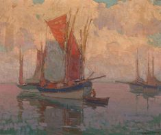 At Anchor, Tuna Boats, Brittany, France by Edgar Payne Dundee, Tuna Boat, Edgar Payne, Oil On Canvas, Canvas Art, Sailboat Art, Sea Art, Room Pictures, Western Art