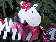 Zebra it's a girl Baby Shower BANNER  in Hot Pink by PartyHoppers, $35.00