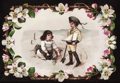 C1890's Children Play with Sailboat at Beach Victorian Greeting Card
