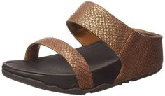 """FitFlopâ""""¢ Womens Luluâ""""¢ Snake Slide Copper Size 8 ** Unbelievable  item right here! : Wedge sandals"""