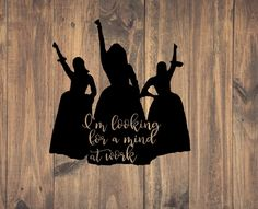 """This listing is for a Hamilton Schuyler Sisters """"Work!"""" vinyl decal. This decal is made from 651 permanent outdoor vinyl. It is designed to hold up on vehicle windows, water bottles, laptops, and more. Application instructions will be included. Multiple colors to choose from! Feel free to reach out with any questions. Window Decals, Vinyl Decals, Hamilton Angelica, Hamilton Schuyler Sisters, Hamilton Quotes, Hamilton Musical, Cricut Craft Room, Fandoms Unite, Lin Manuel"""