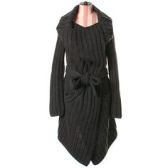 Square knit coat in charcoal