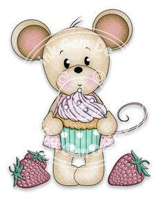 Digital Digi Stamp  Cupcake Maisy - Birthday, Mouse, Birthday, Mothers Day, Party Invitations etc