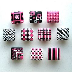 polymer clay knobs | Hand painted knobs. Idea for fimo?