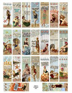 Digital Collage Sheet, Bathing Beauty images, At the Beach inch (Sheet no. Domino Crafts, Domino Art, Bridal Shower Scrapbook, Image Sheet, Book Images, Bathing Beauties, Digital Collage, Digital Art, Journals