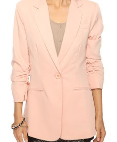 Look 5: Ruched Sleeve Jacket / F21 $37.80 (+ Lace Trim Boho Dress + Sequin Floral Heels)